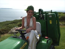 Wedding Bride on mower