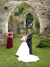 Wedding photograph in church ruins