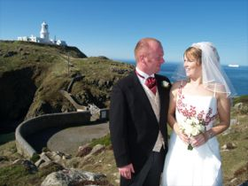 Wedding couple on the coastline