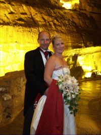 Wedding couple in cave setting
