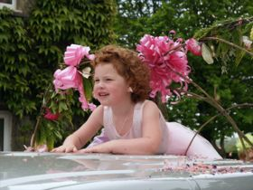 Bridesmaid on car bonnet